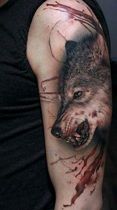 wolf hand tattoo