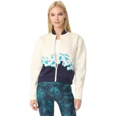Adidas By Stella McCartney Yoga Flower Jacket ($220) ❤ liked on Polyvore featuring activewear, activewear jackets, yoga activewear, adidas activewear, color block jersey, adidas and adidas sportswear