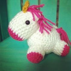 Crocheted baby unicorn!  @Cora Johnson !!! Can you do this??
