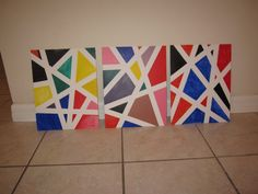 Made these today with the kids.  Using blue paint tape and acrylic paint on canvas boards.  Fun.  Cute decor for kids rooms.