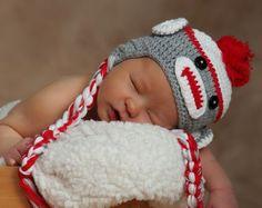 Red Baby Sock Monkey Hat
