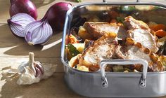 In this recipe pork chops are roasted over a selection of root vegetables to make a substantial, but speedy, roast ideal for week-night cooking. The vegetables can be changed to suit different tastes, Root Vegetables, Roasted Vegetables, White Meat, Le Creuset, Pork Chops, Serving Dishes, Pork Recipes, Gravy, Salsa