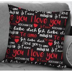 Fata de perna I love you negru 40x40 cm