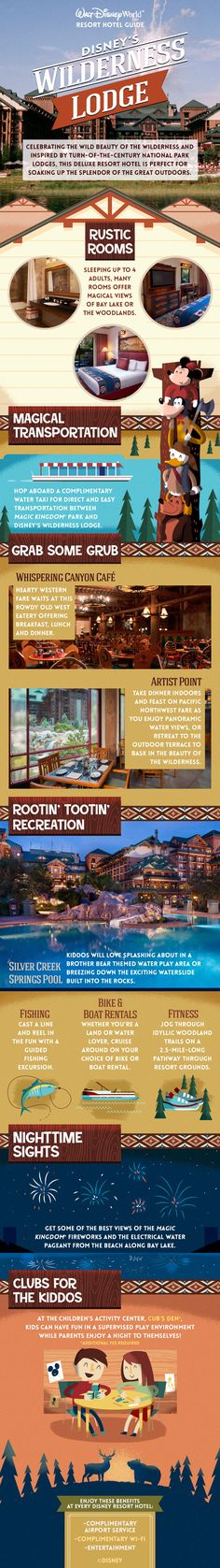 Escape to the rustic majesty of America's Great Northwest. Inspired by turn-of-the-century National Park lodges, Disney's Wilderness Lodge celebrates American craftsmanship and honors the beauty of the untamed wilderness. Enjoy beautiful rooms, resort transportation, delicious dining and restaurant options, and recreation for the entire family on your Walt Disney World vacation!