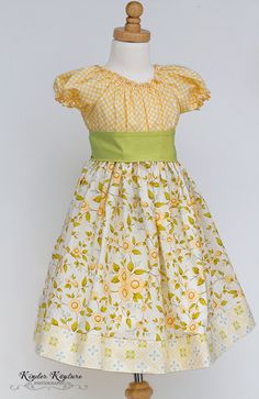 Yellow Floral Girls Peasant Dress  Evelyn  by KinderKouture, $48.00