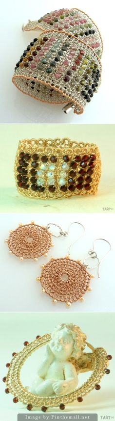 Beautiful examples of #Beaded_Wire_Crochet Jewelry.