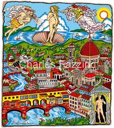 """The Italy Suite - Florence, by #3d #popart artist Charles Fazzino. 13"""" x 15"""""""