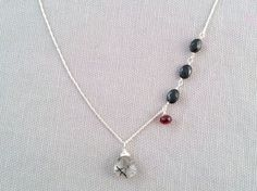 Handmade Necklace with Tourmalated Qtz, Black Spinel, Garnet by Indiana jewelry artist, Amber Bryce.