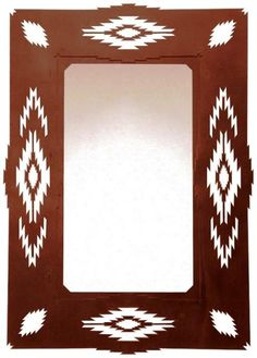 Aztec Diamond Rustic Southwestern Steel Wall Mirror custom made hall or wall mirror made from recycled steel with an Aztec.