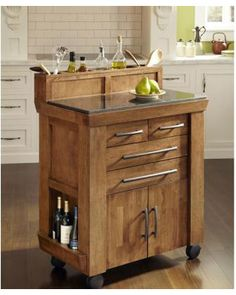 Home Styles Vintage Gourmet Kitchen Cart in Black and Oak Finish - transitional - kitchen islands and kitchen carts - by Cymax Kitchen Island With Granite Top, Kitchen Island Cart, Kitchen Carts, Kitchen Islands, Granite Countertop, Kitchen Ideas, Kitchen Stuff, Pantry Ideas, Kitchen Tips