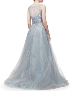 i need this in my life.  B304W Carolina Herrera Lace-Detailed Sequined Leaf-Embroidered Mermaid Gown