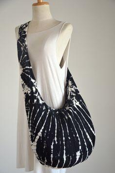 Black & White  Tie Dye Hippie Crossbody Shoulder Bag by Dollypun