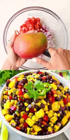 Protein and fiber-rich Mango Black Bean Salad Recipe that's very tasty and easy to make. Have it as a side dish, over any protein or as a snack. recipes for dinner Vegetable Recipes, Vegetarian Recipes, Cooking Recipes, Healthy Recipes, Vegetarian Salad, Vegan Recipes Videos, Protein Recipes, Protein Snacks, Healthy Breakfasts