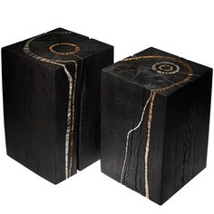 Pair of Blocks/Stools in Burned Oak and Mosaic by S. Rippe | From a unique collection of antique and modern stools at https://www.1stdibs.com/furniture/seating/stools/
