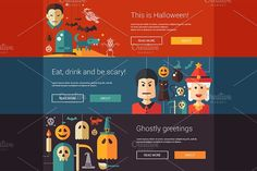 Halloween Banners Set Graphics Set of vector flat design halloween bannersZIP includes:- editable EPS10 vector file format- hi by Decorwith.me Shop