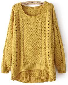 Jersey hueco cuello redondo mangas largas-Amarillo EUR€22.37