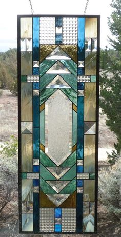 """stained glass window panel""""PRAIRIE,ARTS & CRAFTS""""prairie stained glass transom, prairie stained glass sidelight,Flw style, 12 x 34 - Hobbies paining body for kids and adult Modern Stained Glass, Stained Glass Quilt, Stained Glass Door, Stained Glass Designs, Stained Glass Panels, Stained Glass Patterns, Sliding Glass Door, Mosaic Patterns, Window Panels"""