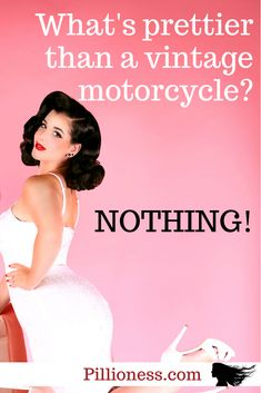 Old motorbikes are so beautiful! Here are some head-turners. Pink Motorcycle Helmet, Womens Motorcycle Helmets, Cool Motorcycles, Vintage Motorcycles, Will Turner, Motorbikes, Supermodels, Pretty, Beauty