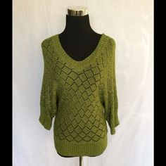 Cachet knit crochet top Cache size small shimmering Leafgreen crochet top. Cachet Tops