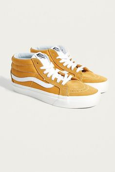 Shop Vans Mid Reissue Yellow Trainers at Urban Outfitters today. Yellow Trainers, Vans Sk8 Mid, Vans Shop, Skate Shoes, Soft Suede, Urban Outfitters, High Top Sneakers, Footwear, My Style