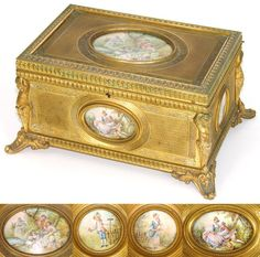 "Large Antique French 1800s Gilt Bronze 8"" Jewelry Casket, 4 Miniature Paintings. From Antiques & Uncommon Treasure"