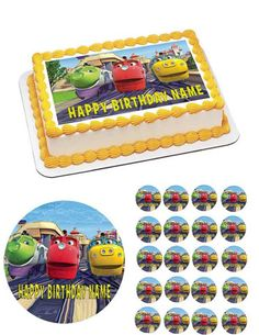 CHUGGINGTON TRAINS Edible cake topper birthday party decoration