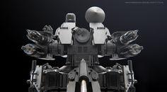 CIWS (close in weapon system) drone, Chris Rosewarne on ArtStation at https://www.artstation.com/artwork/ciws-close-in-weapon-system-drone-995bc378-55fa-4ae6-a5af-570d430b345c