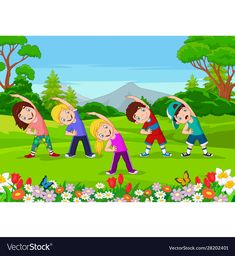 Cartoon Little Kids Exercising Park Stock Vector (Royalty Free) 1579747537 Math For Kids, Yoga For Kids, Exercise For Kids, Kids Cartoon Characters, Cartoon Kids, Cartoon Park, School Board Decoration, Preschool Classroom Decor, Teacher Cartoon