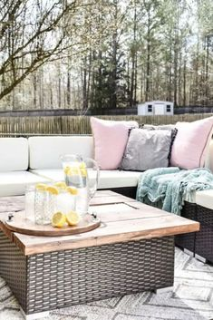 Impress everyone with this beautiful expoy table for your backyard patio or front deck. See how to upgrade your patio furniture with an expoy table with LED lights on a budget. Live Edge Furniture, Outdoor Furniture Sets, Diy Upholstery Cleaner, Diy Essential Oil Diffuser, Patio Decorating Ideas On A Budget, Porch Decorating, Window Benches, Faux Shiplap, Diy Epoxy