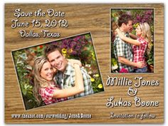 Make a bang with this Save the Date Magnet. A bold western design enhances your photos while the white imprint stands apart from the wood grain background. Funny Save The Dates, Wedding Save The Dates, Wooden Wedding Signs, Diy Wood Signs, Save The Date Magnets, Save The Date Postcards, Printable Christmas Ornaments, Wood Box Centerpiece, Coaster Design