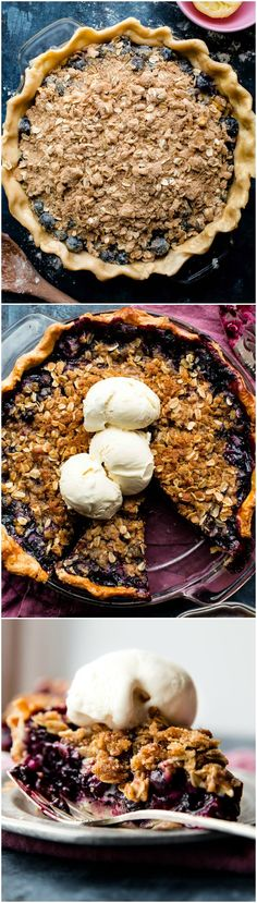 The BEST recipe for blueberry crumble pie! Juicy blueberry pie filling with brown sugar streusel and homemade butter pie crust! Recipe on sallysbakingaddiction.com