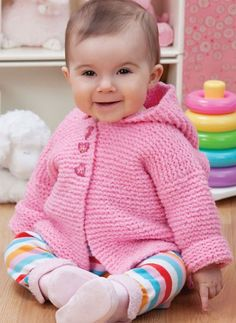 Free Knitting Pattern for Play Date Cardie - This easy hooded baby cardigan sweater by Lorna Miser is knit in garter stitch. Sizes 6 months to 24 months.