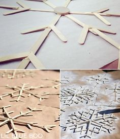 How to make wood popsicle snowflakes winter decor #diy #snowflakes #frozen