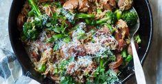 Pølsegryte med brokkolini og ris