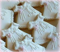Baby Girl Christening Dress Cookies  1 dozen by SweetArtSweets, $48.00