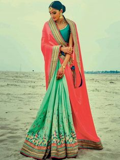 Red and Green Georgette Saree with Embroidery Work