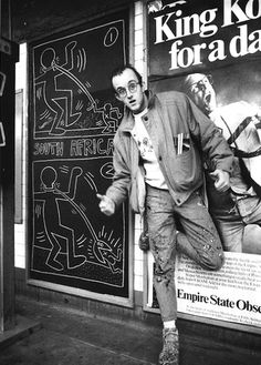 Keith Haring.  I lived on St.Mark's Place, NYC in 1983 when Keith was there, and he often decorated the black paper covering the expired ads in the subway station - it was incredible...