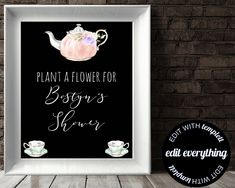 Tea Party Party Favor Sign Plant A Flower Baby Shower Favor Sign Watch Me Grow Baby Shower Favor Sign Flower Seeds Favor Shower Favor Sign by MintedDelights on Etsy Baby Shower Wishes, Baby Shower Tea, Baby Shower Flowers, Baby Shower Signs, Wishes For Baby, Baby Shower Favors, Party Gifts, Party Favors, Party Party