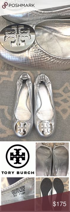 Tory Burch Silver Reva Flats Super cute ballet flats from Tory Burch. These silver crosshatch-patterned Revas have been gently worn but are in fantastic shape with almost no signs of wear. They are a size 7.5 and measure 10 inches from toe to heel of the sole. Tory Burch Shoes Flats & Loafers