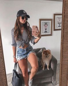 cute trendy summer outfits to copy now 11 ~ thereds. Trendy Summer Outfits, Cute Casual Outfits, Short Outfits, Spring Outfits, Casual Summer, Summer Wear, Look Con Short, Girl Fashion, Fashion Outfits
