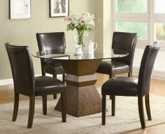 """5pc Dining Table and Chairs Set with Glass Top in Deep Brown Finish by Coaster Home Furnishings. $752.44. Some assembly may be required. Please see product details.. Dining and Kitchen. 5pc Dining Table and Chairs Set with Glass Top in Brown. Dining and Kitchen->Dining Room Sets->Casual Dining. You will receive a total of 1 dining table and 4 chairs. Table: 48"""" Diameter x 30""""H. Chair: 23.5""""L x 19""""W x 38""""H. Seat Height: 18"""". Seat Depth: 18"""". Finish: Cappuccino. Material: W..."""