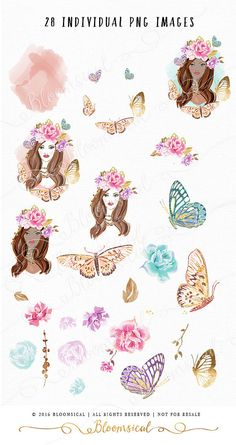 A Shabby Chic Graphic Collection Featuring Beauty Girl With Floral Crown Butterflies