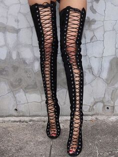 18b1e213fd Black Peep Toe Lace Up Heeled Over the Knee Boots Black Knee High Boots  Outfit,