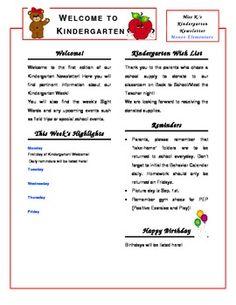 Kindergarten Newsletter Template...Completely edit to suit your needs! CUTE!!!!!