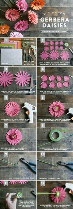 Tutorial to create paper gerbera daisies. Gerbera is a perfect flower to use at weddings. Step-by-step tutorial for Gerbera daisies Crepe Paper Flowers, Paper Roses, Felt Flowers, Diy Flowers, Fabric Flowers, Flower Diy, Flower Lamp, Ribbon Flower, Flower Petals
