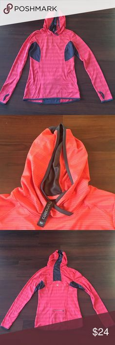 New mondetta hooded long sleeve top. Small Never worn no tag coral ( second picture is the true color) hooded thumb hole work out top. So cute great color. It is just little small for me. I wish I have bought medium:( mondetta Tops Sweatshirts & Hoodies