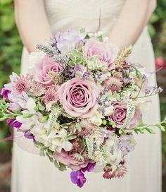 Variety of flowers in gorgeous summer bouquet