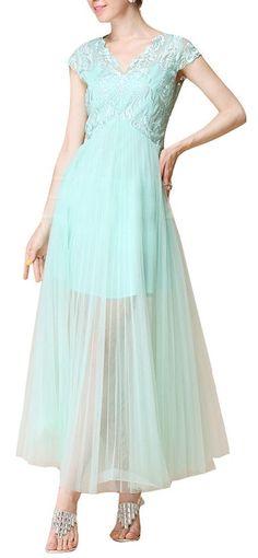 Mint Lace + Pleated Yoke Dress ♥ bridesmaid