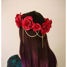 Red Rose Hair Chain Swarovski Crystal Flower Crown, Floral Wreath,... ($31) ❤ liked on Polyvore featuring accessories, hair accessories, hair, chain headbands, rose headband, red rose crown, flower garland and red headband