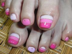 Ideas pink french pedicure toenails for 2019 Cute Toe Nails, Cute Nail Art, Fancy Nails, Love Nails, Diy Nails, Pretty Nails, Pedicure Designs, Pedicure Nail Art, Toe Nail Designs